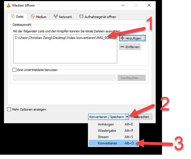 Video von MOV zu Mp4 konvertieren mit VLC Player