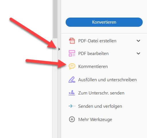 In PDFs schreiben Werkzeuge aufklappen