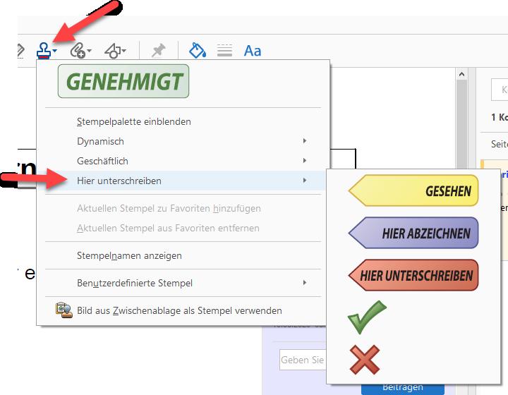 in PDFs schreiben Stempel verwenden