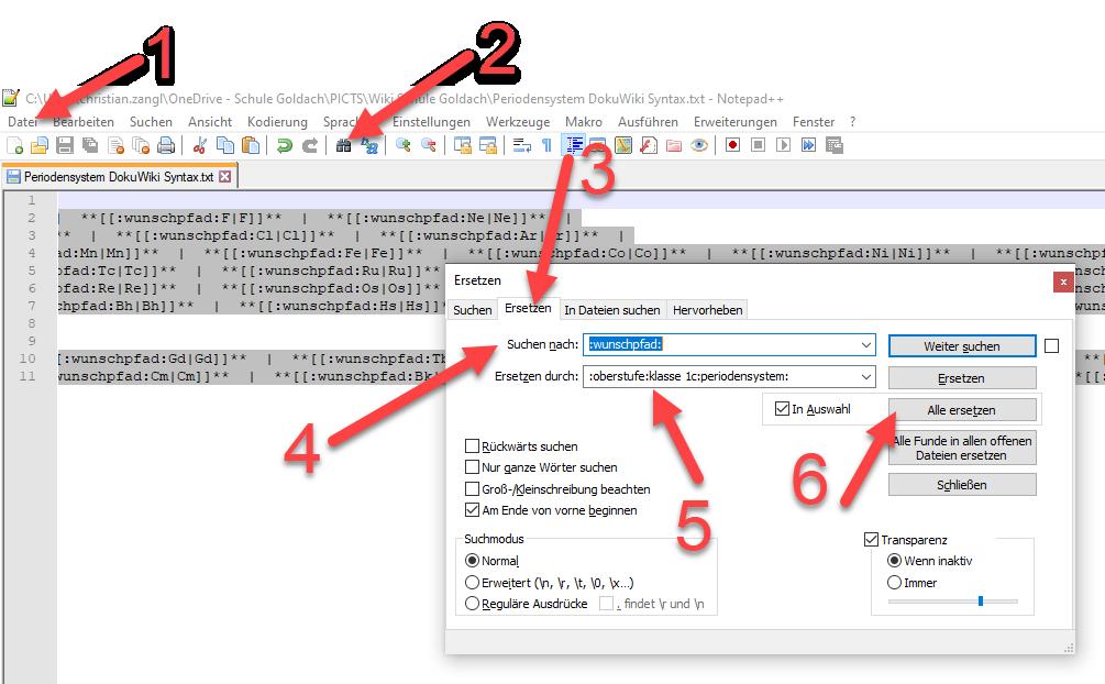 Periodensystem der Elemente in Dokuwiki Syntax in Notepad anpassen