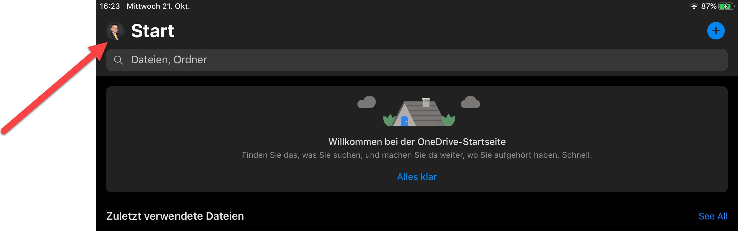 OneDrive auf iPad abmelden 0