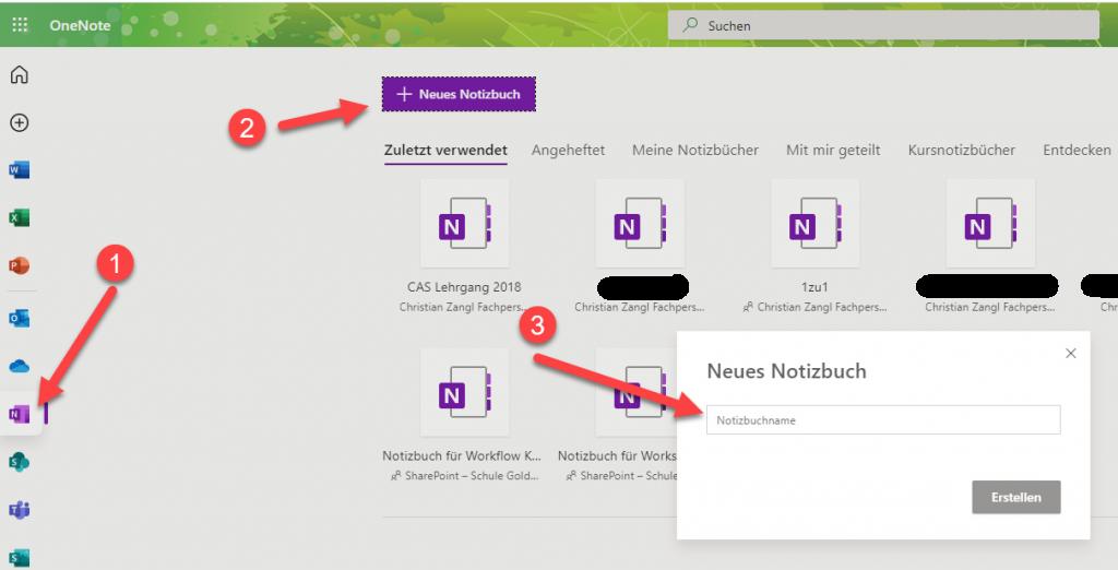 Neues Notizbuch in Microsoft 365 erstellen