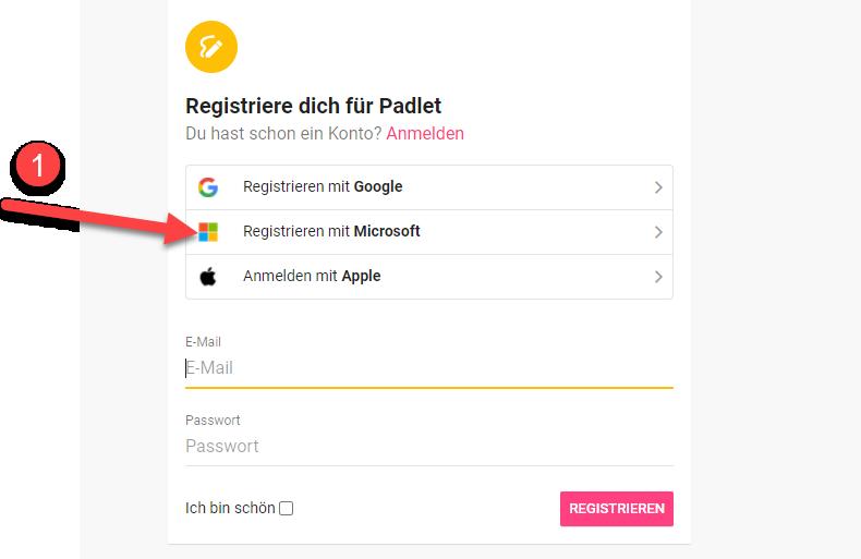 Padlet Registrieren mit Microsoft Konto