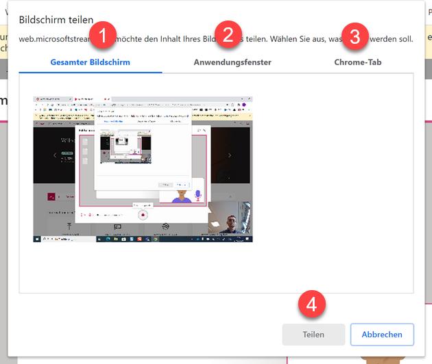 Bildschirm oder Video aufzeichnen in Fenster auswaehlen