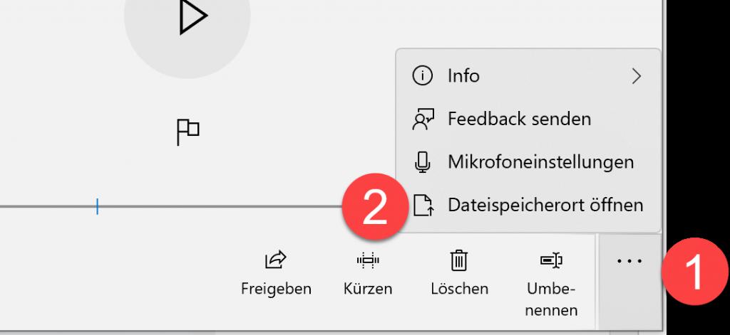 Sprachrekorder Dateispeicherort
