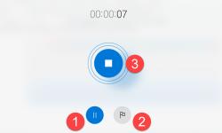 Sprachrekorder Pause Marker und Stop