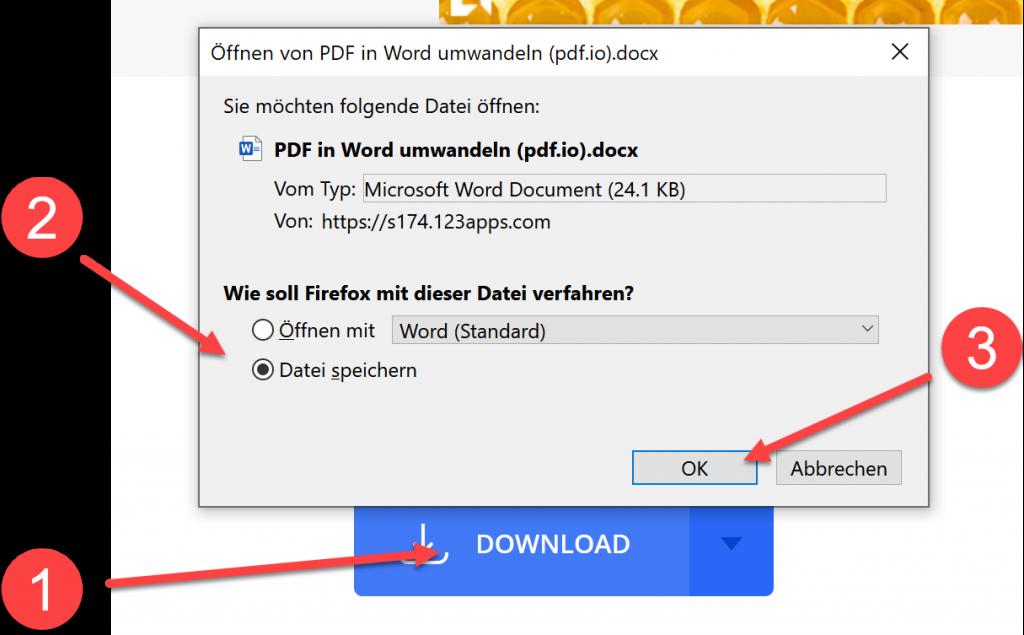 PDF in Word umwandeln Datei speichern